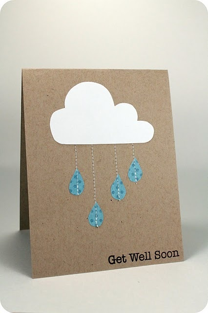 Get well card: Cloudy Day, Sewn Raindrop, Cute Cards, Cards Ideas, Sewn Cards, Get Well Soon, Paper Crafts, Get Well Cards, Rain Cloud
