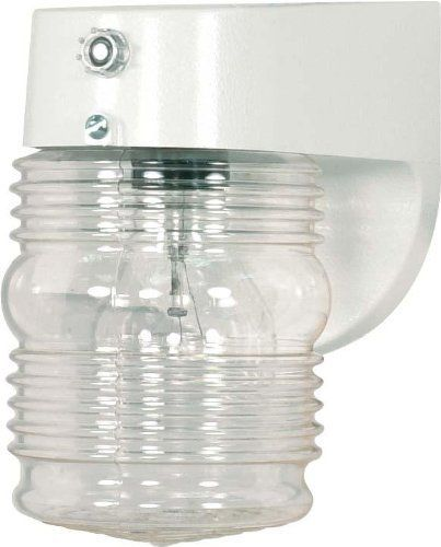 Nuvo 77/862 Porch Wall Fixture with Clear Mason Jar with Photoelectric Sensor, White by Nuvo. $24.99. White porch wall fixture with clear mason jar with photoelectric sensor. (1) 60-Watt A19 bulb not included.