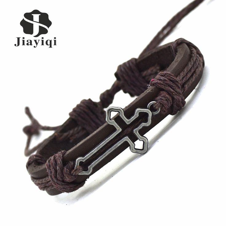 Jiayiqi New Genuine Leather Bracelet for Women Mens Bracelets Hollow Cross Charm Cuff Bracelets Bangles Men Jewelry