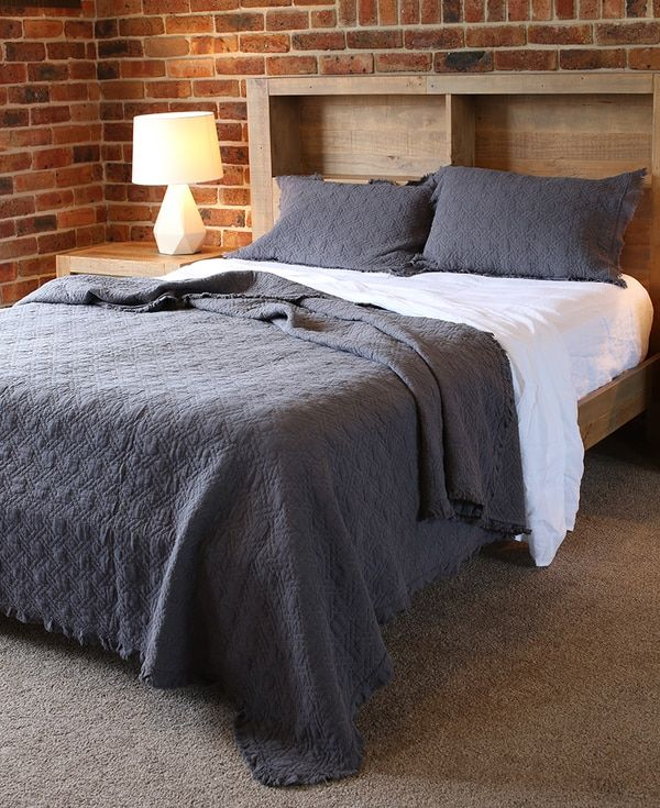 Charcoal coverlet sets come in both queen and king size.  This set is accentuated by angel white sheets.   Pictured with a King size blanket / coverlet / bedspread