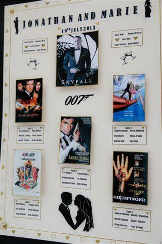 A fantastic 007 themed wedding table plan! #Bond #JamesBond
