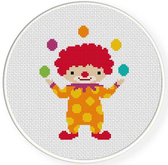 Clown Juggling Cross Stitch Pattern