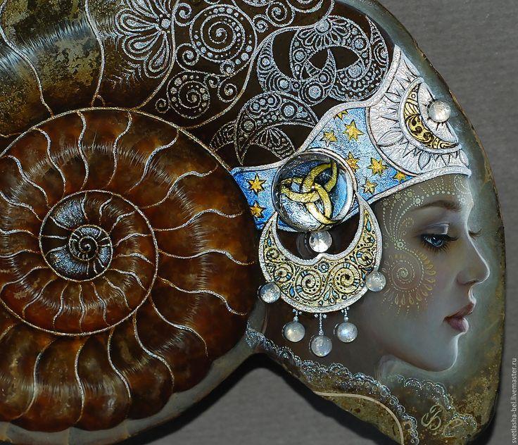 """Купить Аммонит """"Лунный Свет"""" - комбинированный, аммонит, лаковая миниатюра, живопись маслом, живопись на камне"""