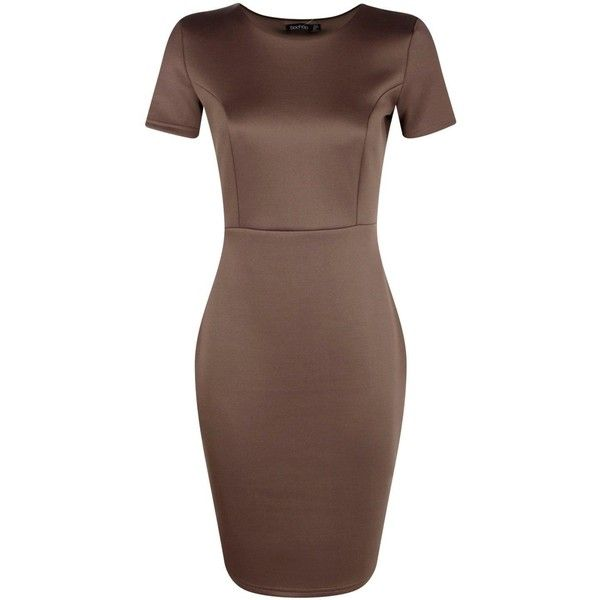 Boohoo Molly Fitted Tailored Scuba Dress ($30) ❤ liked on Polyvore featuring dresses, fitted maxi dress, brown bodycon dress, midi dress, brown camisole and body con dress
