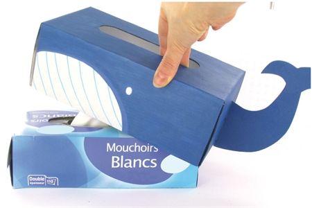 Couvre-boite à mouchoirs en carton fort blanc