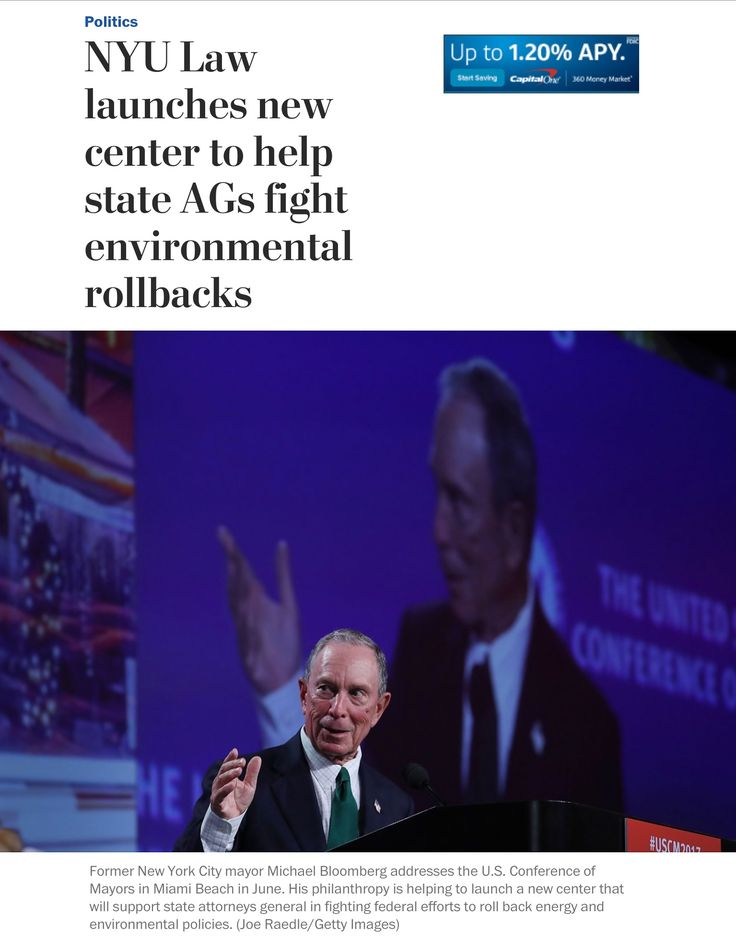 "Former New York mayor Michael R. Bloomberg has spent tens of millions of dollars through his charitable group to address climate change, giving $80 million to the Sierra Club's ""Beyond Coal"" campaign to shut down coal-fired plants across the country. The new center will provide legal assistance to the attorneys general on renewable energy, climate and environmental issues and will sponsor 10 lawyers on two-year fellowships who will work directly on cases in different attorneys general…"
