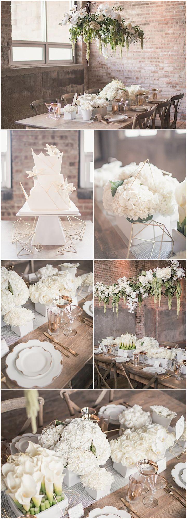 Featured Photographer: MGB Photo; elegant white wedding reception details