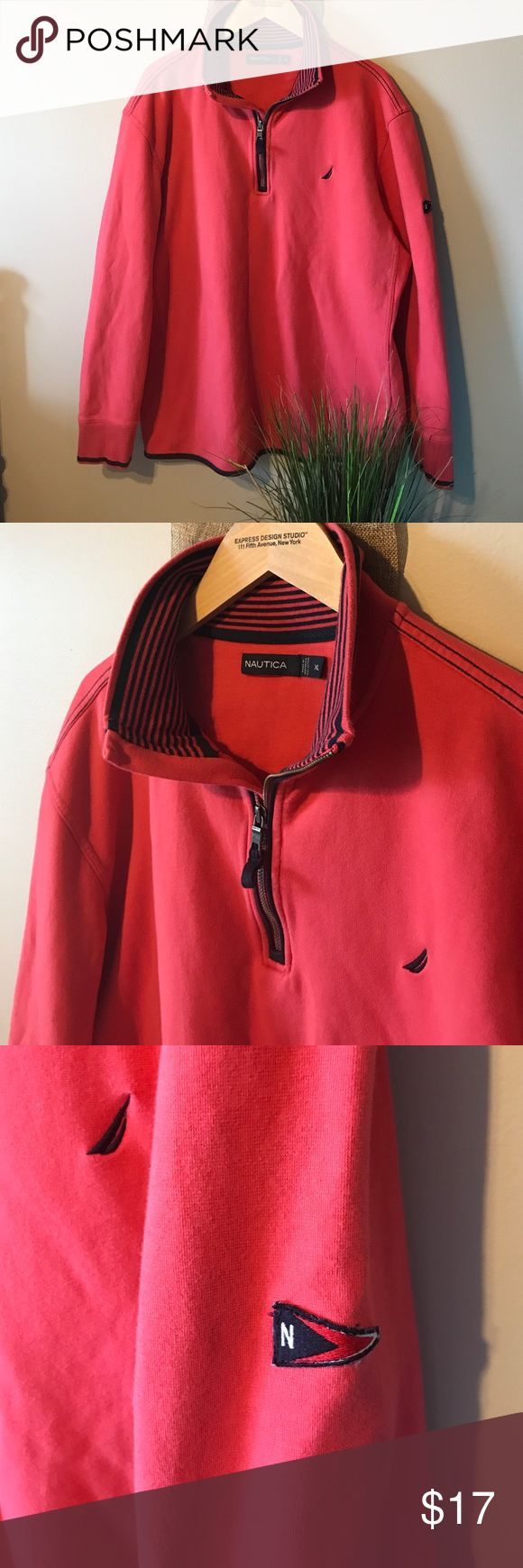 🆕 listing! Men's nautica pullover! Salmon- perfect spring color! This is a medium weight 1/4 zip pullover. In good used condition, no flaws! Shows minimal signs of wear from wash. Accent color is navy! Nautica Sweaters Zip Up