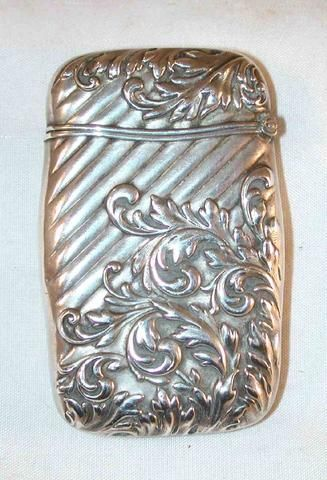 Description: Antique pocket match safe, matchsafe or vesta made of sterling…
