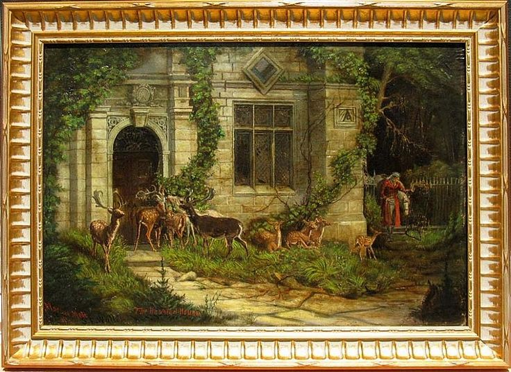 """A remarkable oil on board by American artist, Marcus Mote (1817 - 1898, America) after an 1877 oil painting by Samuel Edmund Waller (1850 - 1903, United Kingdom) titled, """"Home? There Was No Sign of Home from Parapet to Basement."""" The Waller painting illustrates a scene from the Thomas Hood poem, """"Haunted House."""" The oil on board is highly detailed and while it is highly unlikely that Mote ever encountered the original oil on board, he reproduces the colors of the original faithfully…"""
