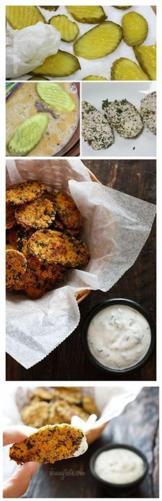 """Oven """"Fried"""" Pickles with Skinny Herb Buttermilk Ranch Dip recipe"""
