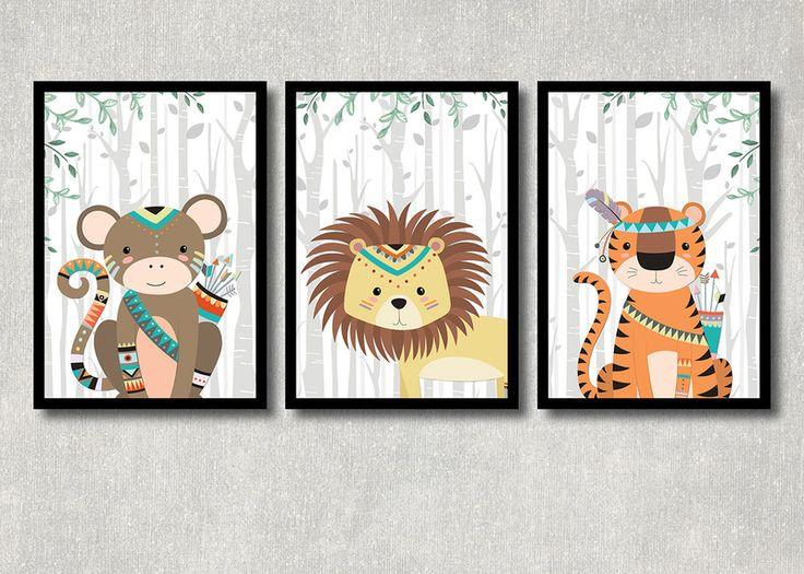 Originaldruck - Dschungel Tiere 3er Set, Kunstdruck, Kinderzimmer - ein Designerstück von ColorfulCloud bei DaWanda