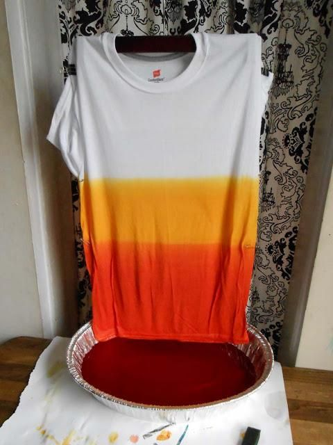 (Almost) Candy Corn Dip Dye T-Shirt tutorial