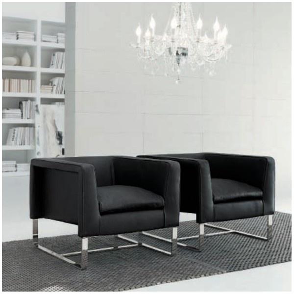 butaca de diseo modelo club con estructura de acero y patas cromadas ideal para espacios modernos