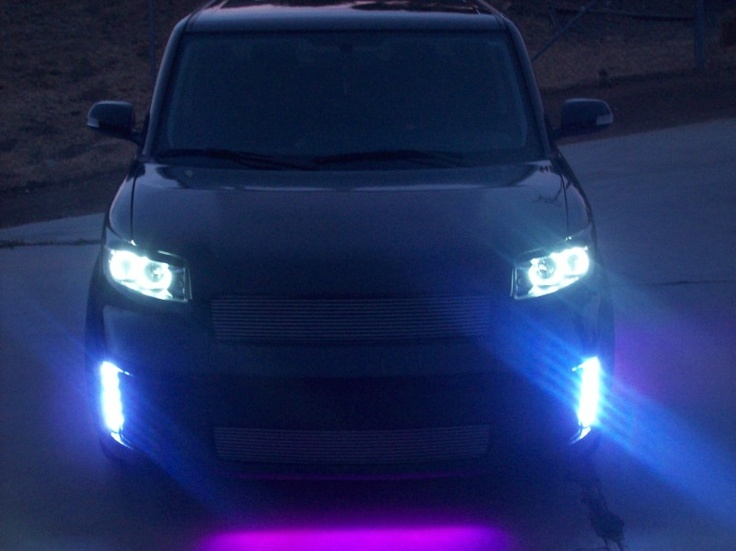 Scion xB Front Bumper Vertical LED Running Lights.. this is something like what i wanna do to mine!