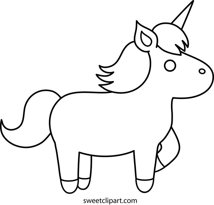 easy unicorn coloring pages | Simple Unicorn Outline ...
