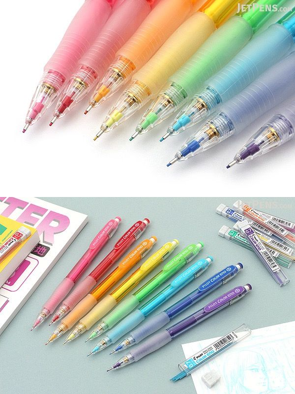 Using a mechanical pencil doesn't have to mean limiting yourself to plain gray lead! The Pilot Color Eno mechanical pencil is available in eight bright colors, each with matching colored lead.