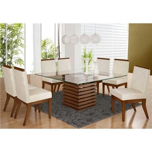 Conjunto Sala de Jantar Mesa com 8 Cadeiras Madeira Maciça Baeza