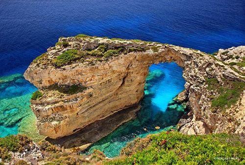 "Trypitos (aka ""Kamara""), a natural rocky arch at Paxoi island"