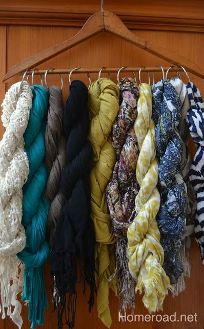 A previous pinner said: Store your scarves with a twist to prevent wrinkles and save space. | DEFINITELY saves space, and is super easy; I love this technique!