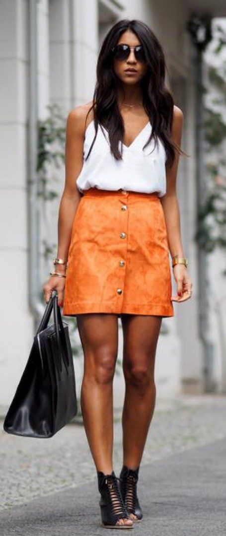 Orange skirt + tank top + lace-up heels + bag | Summer look