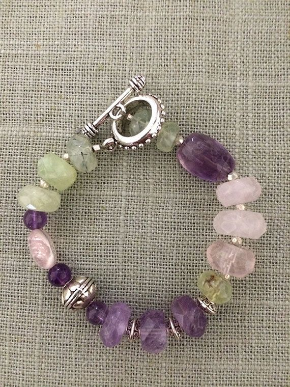 Amethyst, Prehinite, Rose Quartz Natural Gemstone Bracelet