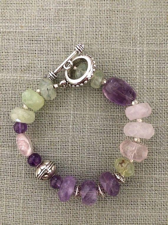 Amethyst, Prehinite, Rose Quartz Natural Gemstone Bracelet