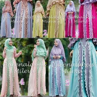 Mileva syari by #queenalabels bahan ceruty furing jersey + lace korea Allsize fit to XL Harga? Satuan -> 355.000 1 seri -> pm