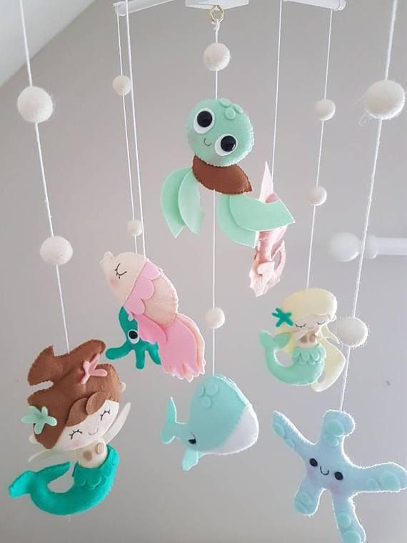 Mermaid Baby Mobile Sea Creatures Mobile Ocean Mobile Diy Baby