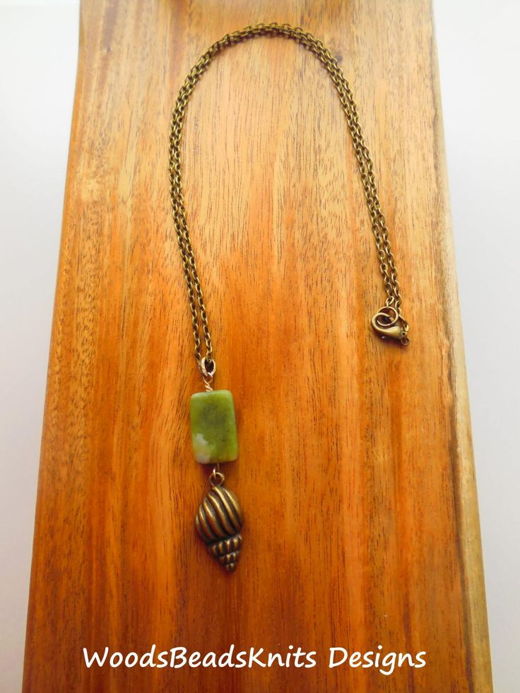 Serpentine Antique Brass Plated Pewter Long Pendant Necklace Steel Chain Shell Shape Green Bronze Earthy Colors