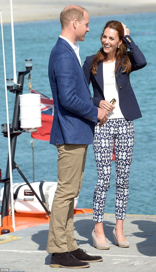 The Duke and Duchess smiled in the sunshine when they arrived at the island of St Martin's during their visit to the Isles of Scilly. Willliam reminisced about holidays he spent there as a small boy with his mother, Princess Diana
