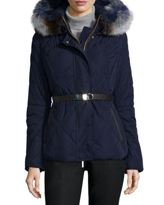 Apres-Ski Fur-Hood Belted Puffer Jacket by Gorski at Neiman Marcus.
