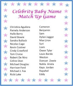 Use this free printable celebrity baby name match up game - just download,print and play!!