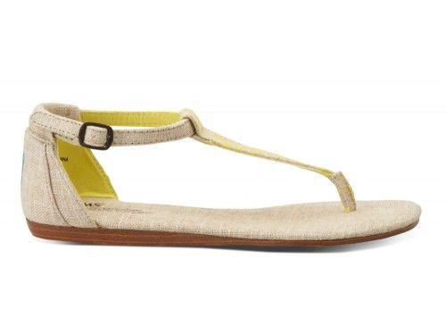 I imagine these will probably be too big but they are so cute...I want to try. Yellow Burlap Women's Playa Sandals | TOMS.com #toms