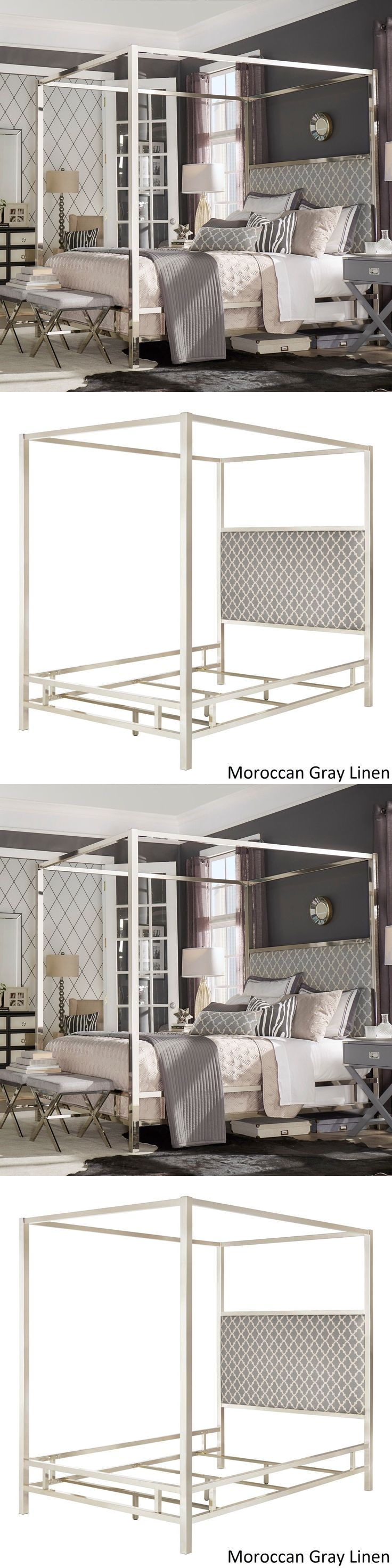 Canopies and Netting 48090: Canopy Bed Frame W Gray Poster Bed Queen Size Beds Metal Bedroom Silver Frame -> BUY IT NOW ONLY: $854.99 on eBay!