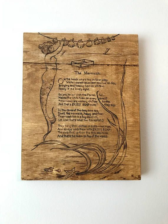 The Mermaids wood burned poem and artwork