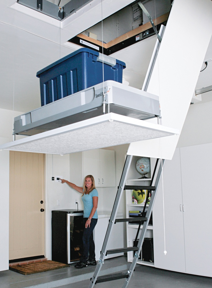 1000 ideas about attic lift on pinterest attic for Garage attic storage