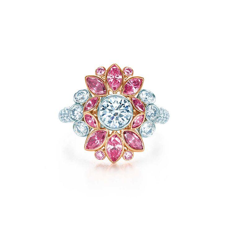 Bague en platine et or rose 18carats, diamants roses et blancs. | Tiffany & Co.