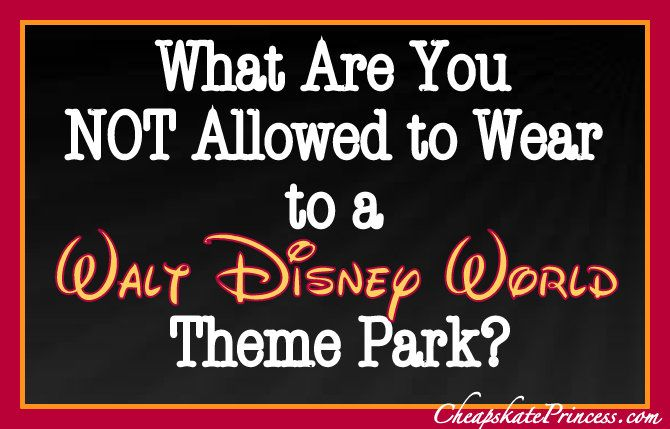 Check out the list of items you Can NOT wear to Walt Disney World theme parks (semi-humorous non-planning article, as in, leave this stuff at home!)
