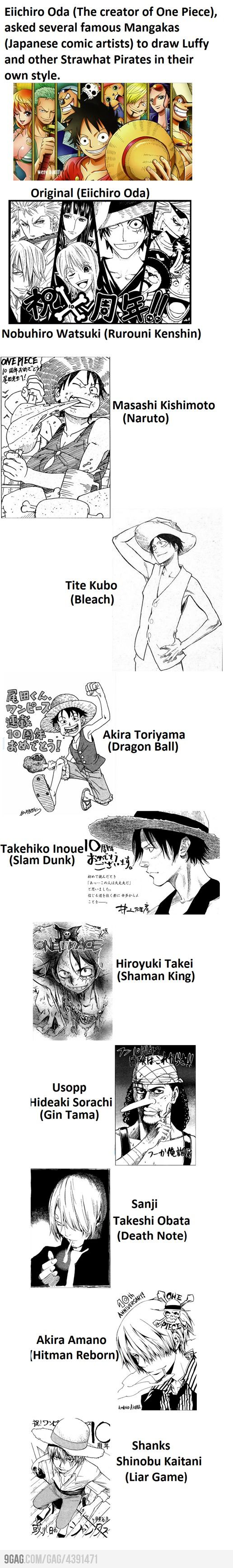The Creator of One Piece asked several famous Manggakas to draw Luffy and Other Strawhat Pirates in their own style