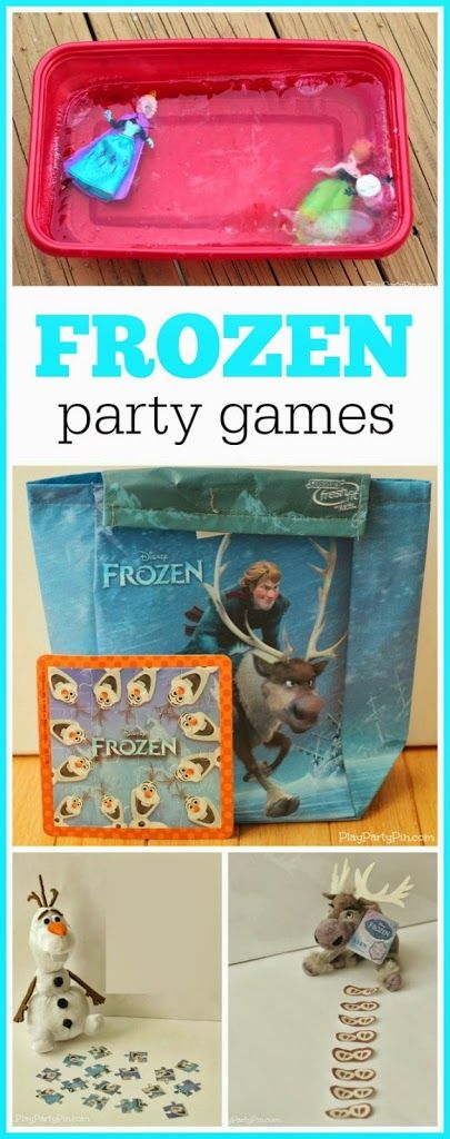 Great FROZEN party games including unfreeze the princesses, an Olaf scavenger hunt, and Sven puzzle.