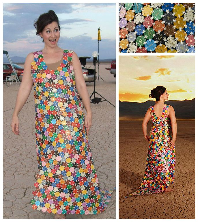 Dress made of casino chips casino chip carrier