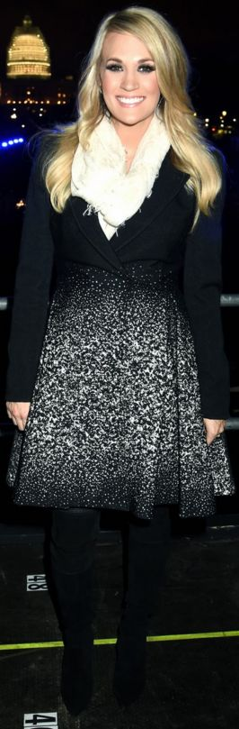 Who made Carrie Underwood's black ombre coat?