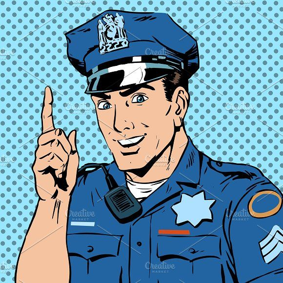 police officer warns draws by studiostoks on @creativemarket