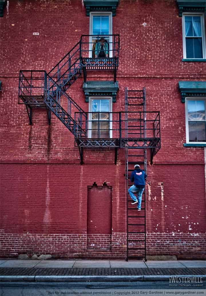 Wally checking the repaired fire escape