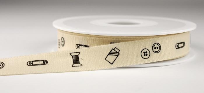 Lint met fournituren bedrukt - Ribbon with haberdashery print