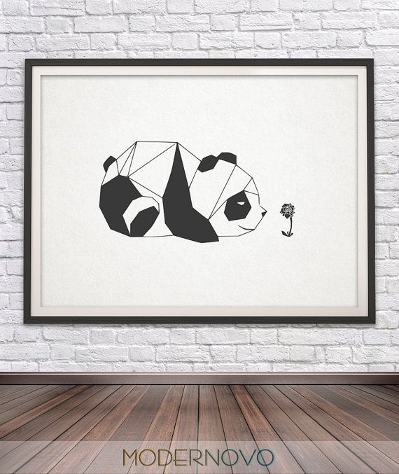 Panda Bear Print Nursery Decor Geometric Animals by MODERNOVO