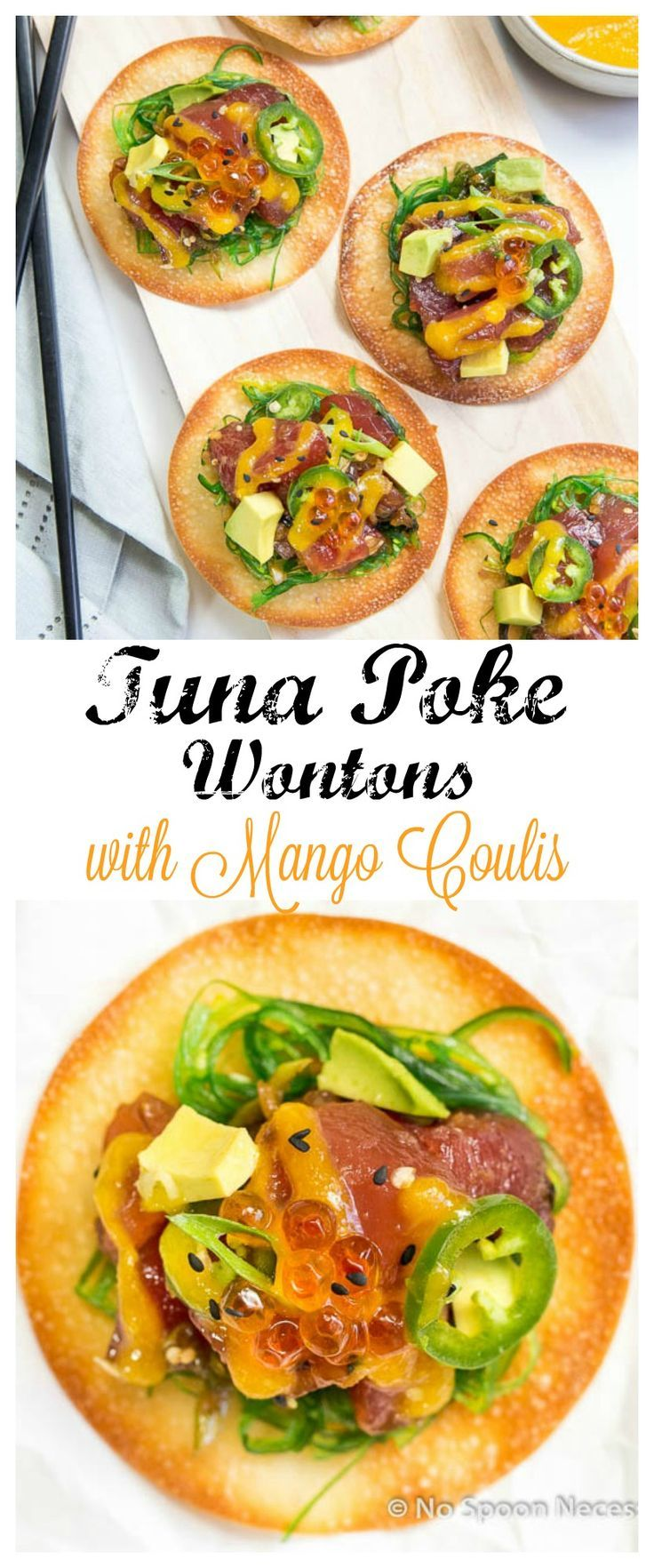 Tuna Poke Wontons with Mango Coulis