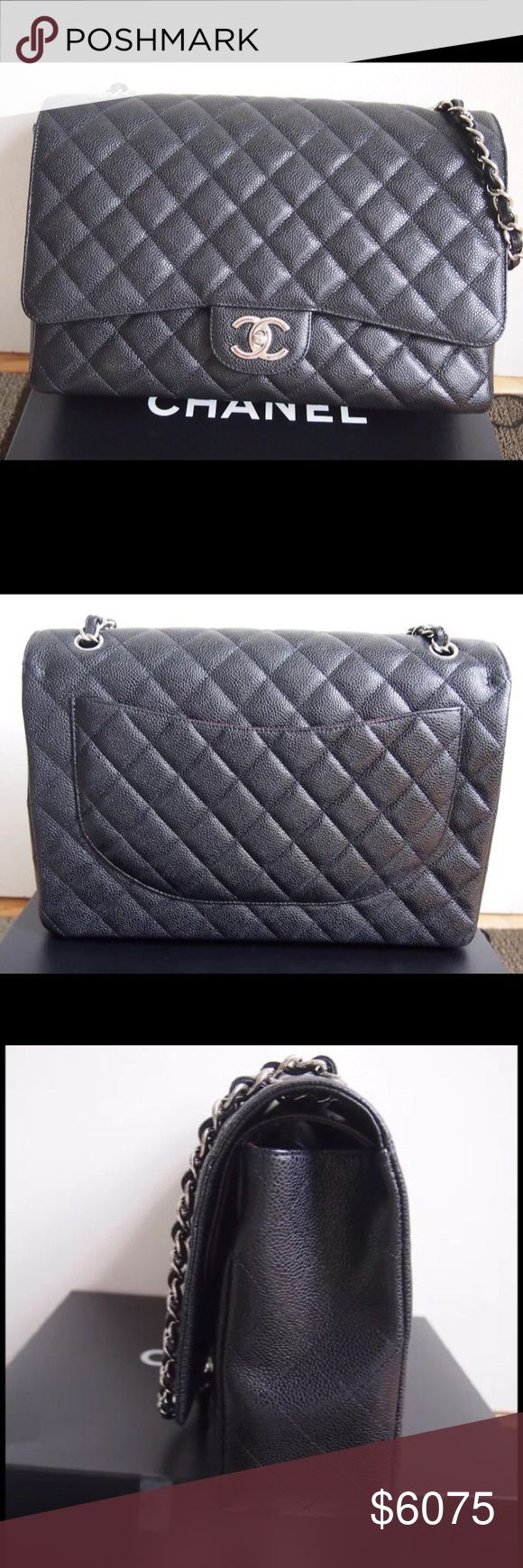 """CHANEL CLASSIC MAXI FLAP BAG CAVIAR WITH SILVER HW CHANEL CLASSIC MAXI FLAP BAG CAVIAR LEATHER WITH SILVER HARDWARE   New Chanel Classic Maxi Flap Bag in Caviar Leather with Silver Hardware; (Double Flap).   Bag comes with its original box, dust bag, and authenticity card.   Measures: 13.4""""L x 9.1""""H x 3.9""""D   No trades. Price on posh is firm. Serious buyers only!!! CHANEL Bags Shoulder Bags"""