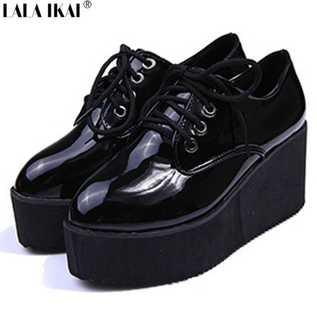 2015 Creepers moda mujeres zapatos planos zapatos de charol Warterproof con cordones alta plataforma enredadera zapatos mujer XWK040